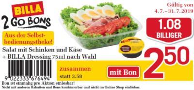 Billa 2GO Bon: Salat mit Schinken und Käse um € 1,08 billiger.
