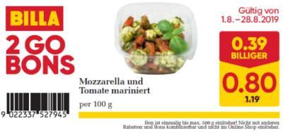 Billa 2GO Bon: Mozzarella und Tomate mariniert um € 0,39 billiger.