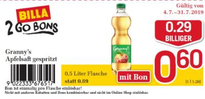 Billa 2GO Bon: Granny's Apfelsaft gespritzt um € 0,29 billiger.