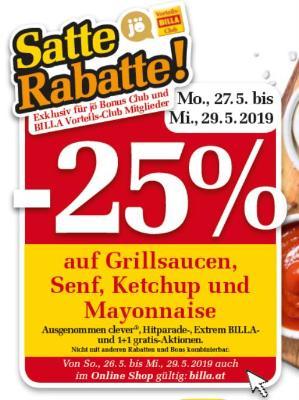 -25% auf Grillsaucen, Senf, Ketchup und Mayonnaise