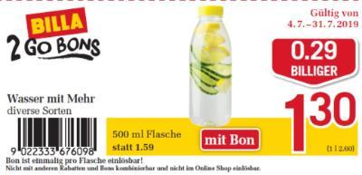 Billa 2GO Bon: Wasser mit Mehr um € 0,29 billiger.