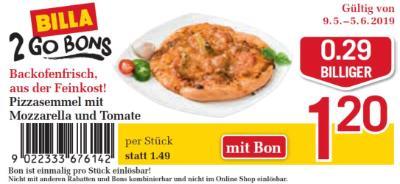 Billa 2GO Bon: Pizzasemmel mit Mozzarella und Tomate um €0.29 billiger.