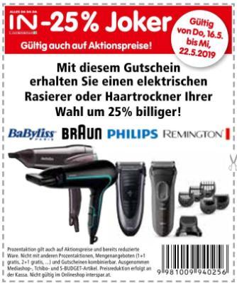 -25% Joker auf Rasierer oder Haartrockner