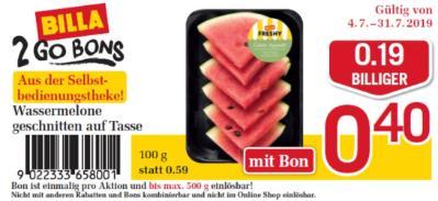 Billa 2GO Bon: Wassermelone geschnitten auf Tasse um € 0,19 billiger.