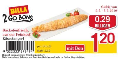 Billa 2GO Bon: Käsestangerl um €0.29 billiger.