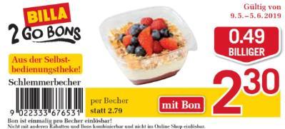 Billa 2GO Bon: Schlemmerbecher um €0.49 billiger.