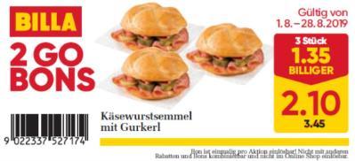 Billa 2GO Bon: Käsewurstsemmel mit Gurkerl um € 1,35 billiger.