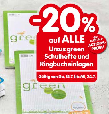 -20% auf ALLE Ursus green Schulhefte und Ringbucheinlagen