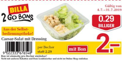 Billa 2GO Bon: Caesar-Salat mit Dressing um € 0,29 billiger.