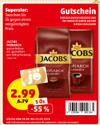 -55% auf Jacobs Monarch ganze Bohne od. gemahlen pro 500 g Packung
