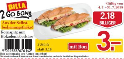 Billa 2GO Bon: Kornspitz mit Holzofenleberkäse um € 2,18 billiger.