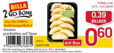 Billa 2GO Bon: Ananas geschnitten auf Tasse um €0.39 billger.