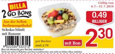 Billa 2GO Bon: Schoko-Müsli mit Banane um € 0,49 billiger.