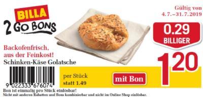 Billa 2GO Bon: Schinken-Käse Golatsche um € 0,29 billiger.