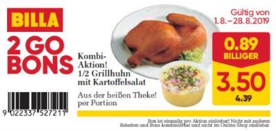 Billa 2GO Bon: 1/2 Grillhuhn mit Kartoffelsalat um € 0,89 billiger.