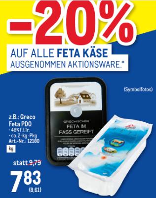 -20% auf Feta Käse