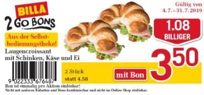 Billa 2GO Bon: Laugencroissant mit Schinken, Käse und Ei um € 1,08 billiger.