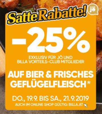 -25% auf Bier und frisches Geflügelfleisch