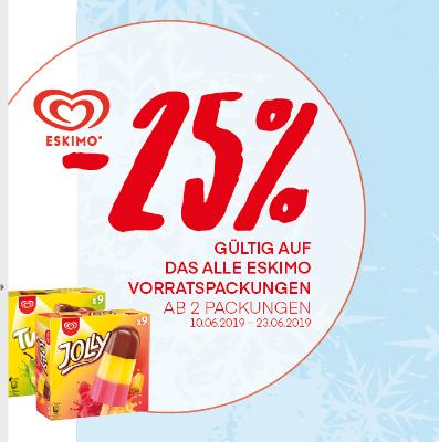 -25% auf alle Eskimo Eis Vorratspackungen
