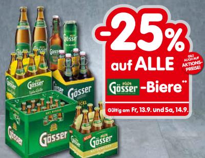 -25% auf alle Gösser-Biere