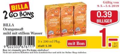 Billa 2GO Bon: BILLA Orangensaft mild mit stillem Wasser um €0.39 billiger.