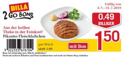 Billa 2GO Bon: Pikantes Fleischlaibchen um € 0,49 billiger.