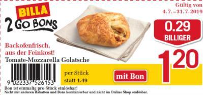 Billa 2GO Bon: Tomate-Mozzarella Golatsche um € 0,29 billiger.